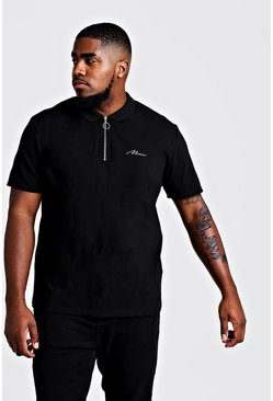 Ecru Big & Tall MAN Zip Through Colour Block Polo