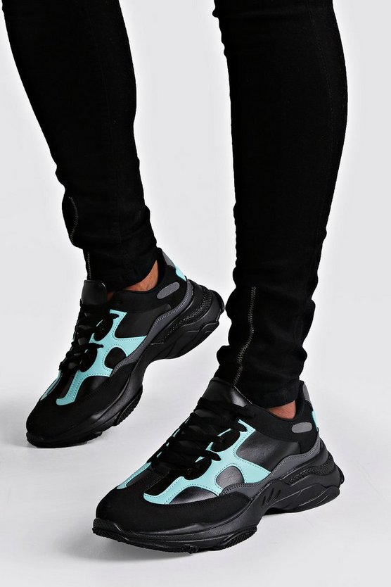 Herr Black Aqua Panel Chunky Trainer