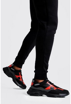 Mens Neon Colour Block Chunky Trainer