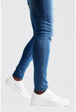 White Textured Side Tape Sneakers