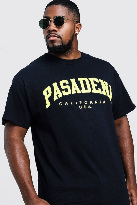 Mens Black Big & Tall Pasadena Print T-Shirt
