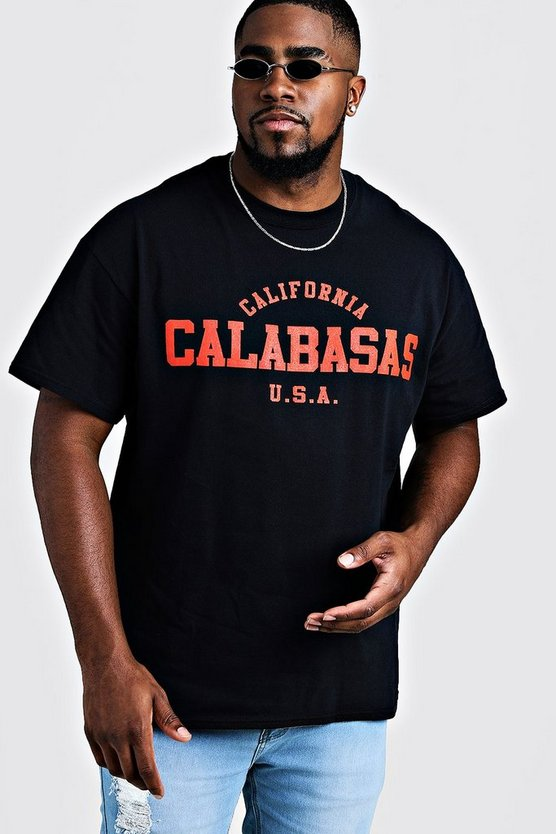 Mens Black Big & Tall California Calabasas Printed T-Shirt