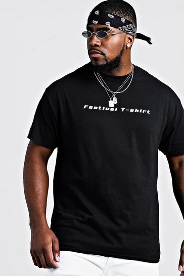 Mens Black Big & Tall Festival Print T-Shirt
