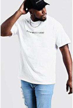 Mens Big & Tall Printed Plain White T-Shirt
