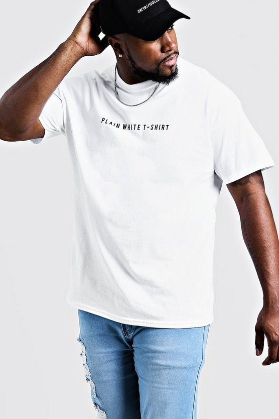 Big & Tall Printed Plain White T Shirt by Boohoo