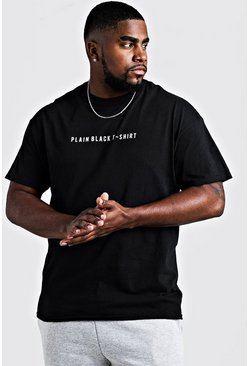 Big & Tall Printed Plain Black T-Shirt