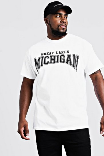 Mens White Big & Tall Michigan Print T-Shirt