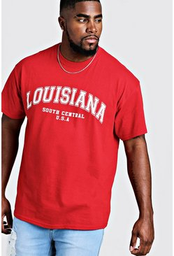 Big & Tall t-shirt con stampa Louisiana, Rosso, Maschio