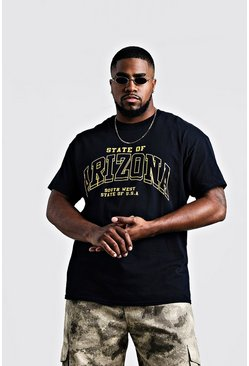 Big & Tall Camiseta con estampado Arizona, Negro, Hombre