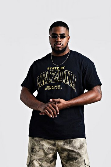 Mens Black Big & Tall Arizona Print T-Shirt