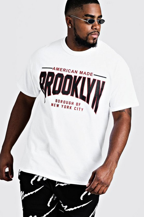 Mens White Big & Tall Brooklyn Print T-Shirt