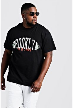 Mens Black Big & Tall Brooklyn Printed T-Shirt