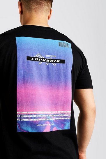 Mens Black Big & Tall Euphoria Gradient Print T-Shirt