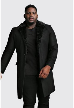 Mens Black Big & Tall Faux Fur Collar Overcoat