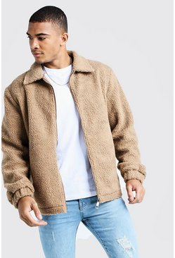 Camel Borg Jacket With Collar
