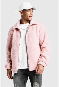 Mens Dusky pink Borg Jacket With Collar