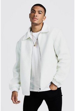 Mens Ivory Borg Jacket With Collar