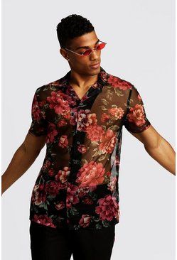 Black Short Sleeve Revere Shirt In Floral Mesh