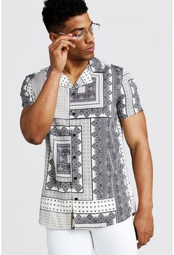Mens White Tile Print Revere Short Sleeve Shirt