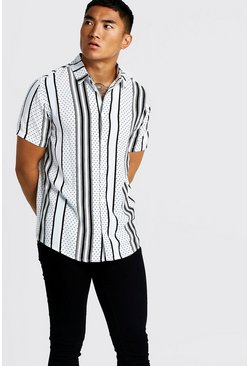 Mens Polka Dot Stripe Short Sleeve Shirt