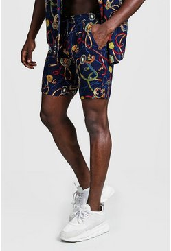 Mens Navy Baroque Print Mid Length Short