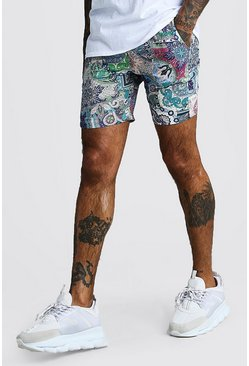 Mens Navy Paisley Print Mid Length Short