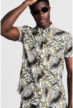 Mens White Animal Chain Print Short Sleeve Shirt