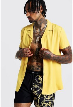 Herr Mustard Short Sleeve Revere Collar Shirt
