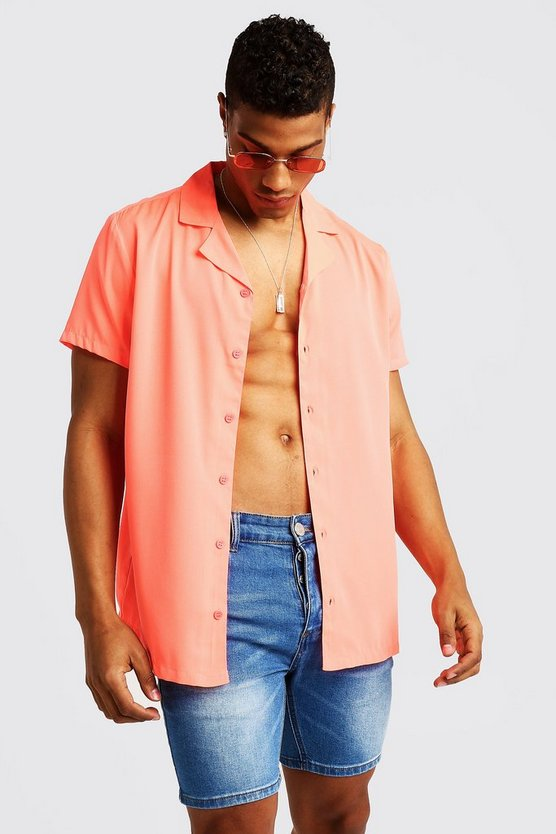 Coral Short Sleeve Revere Collar Shirt