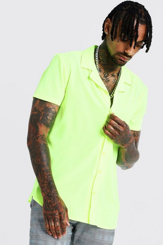 Mens Neon-yellow Short Sleeve Revere Collar Shirt