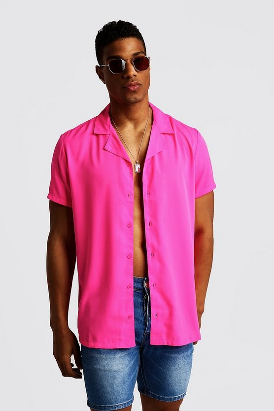Neon-pink Short Sleeve Revere Collar Shirt