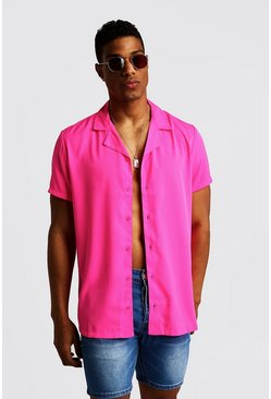 Mens Neon-pink Short Sleeve Revere Collar Shirt