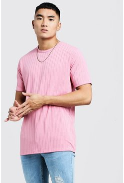 Mens Pink Longline Knitted Rib T-Shirt