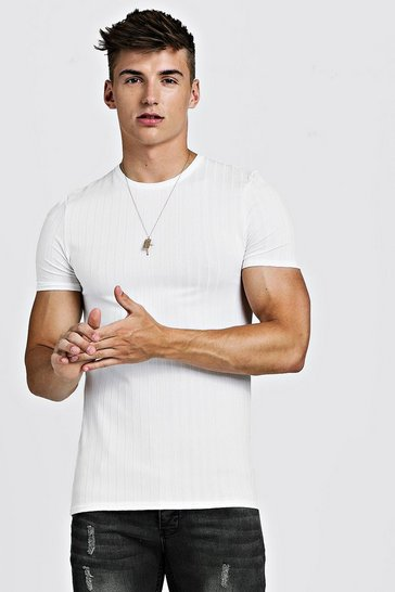 Mens White Muscle Fit Knitted Rib T-Shirt