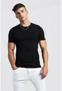 Herr Black Muscle Fit Knitted Rib T-Shirt