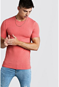 Mens Coral Muscle Fit Knitted Rib T-Shirt