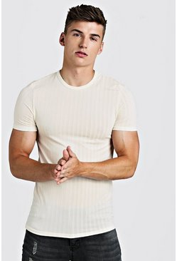 Herr Ecru Muscle Fit Knitted Rib T-Shirt