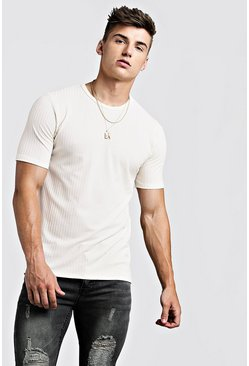 Mens Ecru Knitted Rib Crew Neck T-Shirt