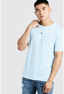 Mens Pale blue Knitted Rib Crew Neck T-Shirt