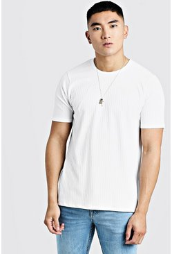 Mens White Knitted Rib Crew Neck T-Shirt