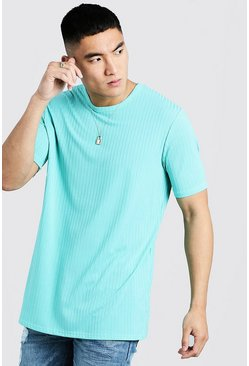 Mens Mint Longline Knitted Rib T-Shirt