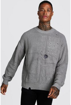 Herr Grey Chunky Knitted Jumper With Distressing