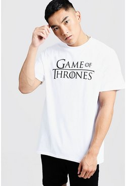 Mens White Games of Thrones Oversized Licensed T-Shirt