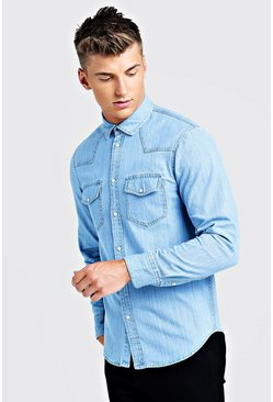 Herr Pale blue Long Sleeve Denim Western Shirt