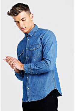Herr Mid blue Long Sleeve Denim Western Shirt
