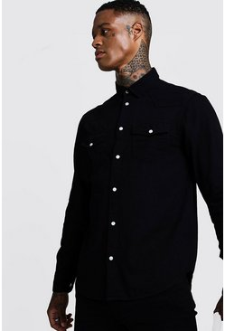 Herr Black Long Sleeve Denim Western Shirt