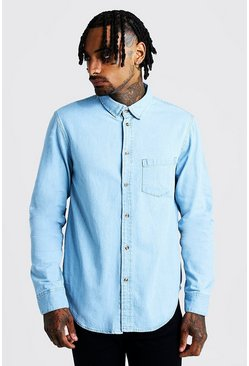 Mens Pale blue Long Sleeve Denim Shirt