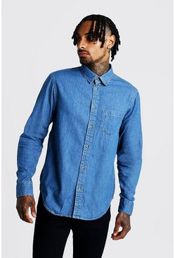 Mens Mid blue Long Sleeve Denim Shirt