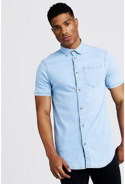 Mens Pale blue Short Sleeve Denim Shirt In Muscle Fit