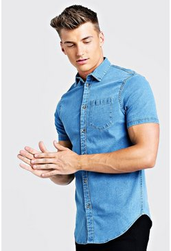 Mens Mid blue Short Sleeve Denim Shirt In Muscle Fit